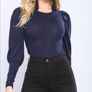 Sweaters - Navy Blue Puff Sleeve Knit Sweater